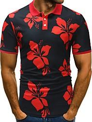 Недорогие -Муж. Polo Классический Цветочный принт / Контрастных цветов Черное и белое / Черный и красный