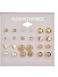 cheap -Women's Pearl Geometric Stud Earrings / Hoop Earrings - Imitation Pearl Simple, Basic Gold / Silver For Daily / Evening Party