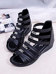 cheap -Women's Shoes PU Summer Gladiator Sandals Wedge Heel for Casual Black Beige