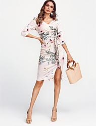 abordables -Femme Coton Moulante Robe - Imprimé, Fleur Col en V Mi-long