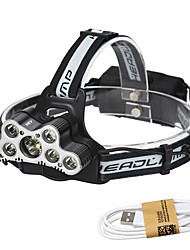 cheap -Headlamps / Lamp LED 7000 lm 6 Mode with USB Cable Waterproof / Fastness / Portable Camping / Hiking / Caving / Everyday Use / Cycling / Bike Black