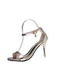 baratos -Mulheres Sapatos Couro Ecológico Verão Outono Tira no Tornozelo Conforto Sandálias Caminhada Salto Agulha Dedo Aberto Dedo Apontado