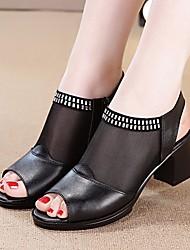 preiswerte -Damen Schuhe Leder Sommer Pumps / Komfort Sandalen Blockabsatz für Schwarz