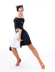 baratos -Dança Latina Vestidos Mulheres Treino Náilon Chinês / Fibra de Leite Combinação Meia Manga Vestido