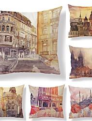 Недорогие -6 штук Текстиль / Хлопок / Лён Наволочки, Ар деко / Архитектура / Рисунок Квадратные / Европейский стиль