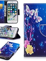 Недорогие -Кейс для Назначение Apple iPhone 6 / iPhone 7 Бумажник для карт / Кошелек / со стендом Чехол Бабочка Твердый Кожа PU для iPhone 8 /