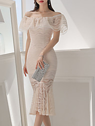 baratos -Mulheres Simples Evasê Vestido Sólido Médio