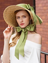 cheap -Natural Fiber Hats with Ribbons / Plain Top 1pc Casual / Daily Wear Headpiece