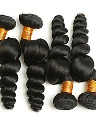 Недорогие -4 Связки Индийские волосы Волнистый Натуральные волосы Накладки из натуральных волос Ткет человеческих волос Удлинитель / Горячая распродажа Естественный цвет Расширения человеческих волос Все