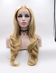 cheap -Synthetic Lace Front Wig Wavy Blonde Layered Haircut Synthetic Hair Curler & straightener Blonde Wig Women's Mid Length Lace Front / Yes