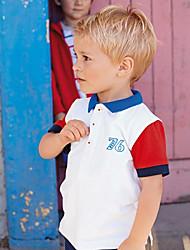 Недорогие -Дети / Дети (1-4 лет) Мальчики Черный и красный / Синий и белый Геометрический принт С короткими рукавами Футболка