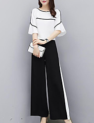 cheap -Women's Street chic / Sophisticated Flare Sleeve Set - Solid Colored / Color Block, Pleated Pant