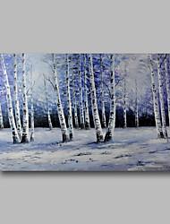 abordables -Peinture à l'huile Hang-peint Peint à la main - Abstrait / Paysage Contemporain Toile