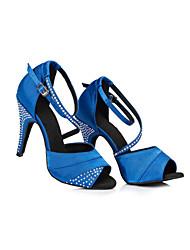 abordables -Femme Chaussures Latines Satin Basket Détail Cristal Mince haut talon Chaussures de danse Noir / Violet / Bleu / Entraînement