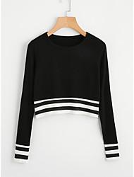 Недорогие -Жен. Классический Пуловер - Полоски / Контрастных цветов