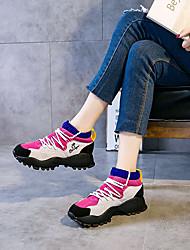 Недорогие -Жен. Обувь Кожа Осень / Весна лето Удобная обувь Кеды На низком каблуке Красный / Зеленый / Розовый