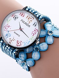 cheap -Women's Bracelet Watch Chinese Casual Watch / Imitation Diamond PU Band Flower / Fashion Black / White / Blue / One Year