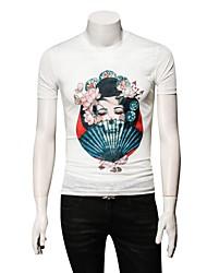 baratos -Homens Tamanhos Grandes Camiseta Retrato Seda Decote Redondo Delgado / Por favor, sempre escolha um número maior que o seu número normal.