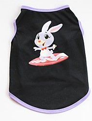 cheap -Dogs / Cats / Pets Shirt / T-Shirt / Vest Dog Clothes Striped / Rabbit / Bunny Black Cotton Costume For Pets Male Casual / Daily / Cute