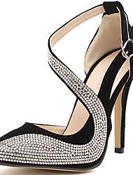 abordables -Femme Chaussures Paillette Eté / Automne Gladiateur / Escarpin Basique Chaussures à Talons Talon Aiguille Strass Or / Noir