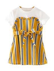cheap -Kids Girls' Striped Short Sleeves Dress