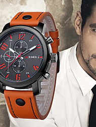 Недорогие -Муж. Наручные часы Китайский Cool Кожа Группа На каждый день / Мода Черный / Синий / Оранжевый