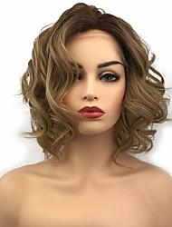 Недорогие -Синтетические кружевные передние парики Кудрявый Стрижка боб Искусственные волосы синтетический Коричневый Парик Жен. Средняя длина Лента спереди / Да