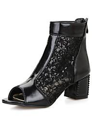 preiswerte -Damen Schuhe Kunstleder Sommer Gladiator / Modische Stiefel Stiefel Blockabsatz Peep Toe Booties / Stiefeletten Schwarz / Rosa / Hellblau