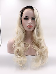 cheap -Synthetic Lace Front Wig Wavy Black / Blonde Layered Haircut Synthetic Hair Curler & straightener Black / Blonde Wig Women's Mid Length Lace Front / Yes