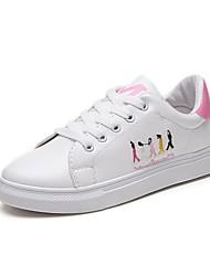 baratos -Mulheres Sapatos Couro Ecológico Primavera Conforto Tênis Salto Baixo para Ao ar livre Preto / Verde / Rosa claro