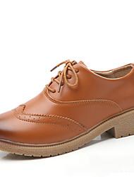 povoljno -Žene Cipele Koža Jesen zima Udobne cipele Oksfordice Ravna potpetica za Vanjski Bež / Braon / Lila-roza