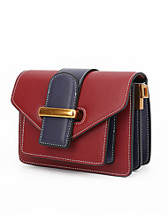 cheap -Women's Bags Genuine Leather Shoulder Bag Buttons Almond / Brown / Wine