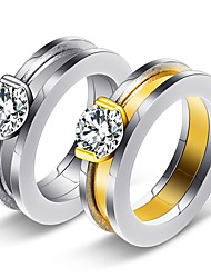 billiga -Dam Kubisk Zirkoniumoxid Bandring / Förlovningsring - Klassisk, Vintage, Elegant 7 / 8 / 9 Guld / Silver Till Bröllop / Förlovning / Ceremoni