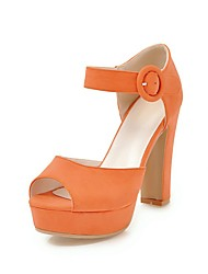 baratos -Mulheres Sapatos Courino Primavera / Verão Plataforma Básica Sandálias Salto Robusto Peep Toe Presilha Laranja / Rosa claro / Amêndoa