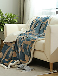 cheap -Plush, Jacquard Geometric Polyester / Acrylic Fibers Blankets