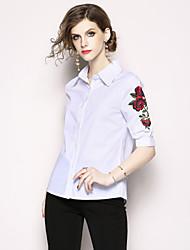 baratos -Mulheres Camisa Social Básico / Moda de Rua Bordado, Floral