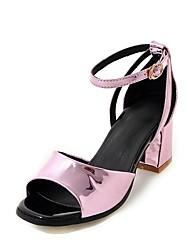 abordables -Mujer Zapatos Semicuero Verano D'Orsay y Dos Piezas Sandalias Tacón Cuadrado Punta abierta Hebilla Dorado / Plata / Rosa / Fiesta y Noche