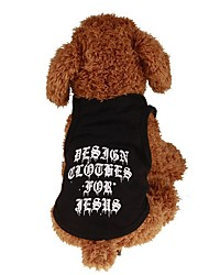 cheap -Dogs / Cats / Pets Shirt / T-Shirt / Jacket / Vest Dog Clothes Simple / Letter & Number / Classic Black Plush Fabric / Cotton Costume For