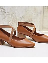 preiswerte -Damen Schuhe Nappaleder / Leder Frühling Komfort / Pumps High Heels Blockabsatz Schwarz / Wein / Marron