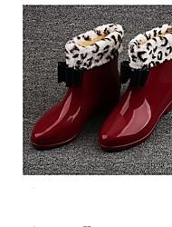 Недорогие -Жен. Обувь Кожа ПВХ  Наступила зима Резиновые сапоги Ботинки На низком каблуке Черный / Красный / Розовый
