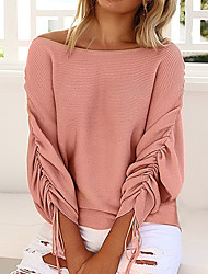cheap -Women's Vintage Street chic Long Sleeves Batwing Sleeve Wool Loose Pullover - Solid Colored Off Shoulder