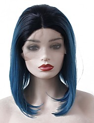 cheap -Synthetic Lace Front Wig Straight Bob Haircut / Middle Part 150% Density Synthetic Hair Heat Resistant / Fashion / Middle Part Bob Blue Wig Women's Short Lace Front / Yes / For Black Women