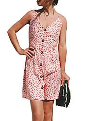 baratos -Mulheres Moda de Rua Reto Vestido Poá Altura dos Joelhos