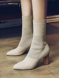 preiswerte -Damen Schuhe Kaschmir Winter Komfort Stiefel Blockabsatz für Schwarz Beige Armeegrün