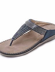 cheap -Women's Shoes PU(Polyurethane) Spring / Fall Comfort Slippers & Flip-Flops Flat Heel Blue / Khaki