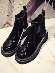 Недорогие -Жен. Обувь Искусственное волокно Зима Ботильоны Ботинки На плоской подошве Черный