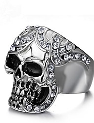 cheap -Cubic Zirconia Band Ring / Knuckle Ring - Skull Vintage 8 / 9 / 10 Silver For Party / Gift