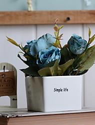 baratos -Flores artificiais 1 Ramo Vintage Rosas Flor de Mesa