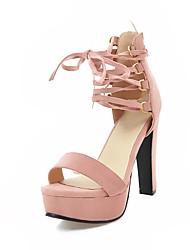 baratos -Mulheres Sapatos Pele Nobuck Verão Tira no Tornozelo Sandálias Salto Robusto Dedo Aberto Laço para Festas & Noite Cinzento / Vermelho /