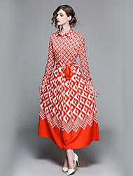 baratos -Mulheres Básico / Moda de Rua Rodado Vestido Floral Decote V / Colarinho de Camisa Médio